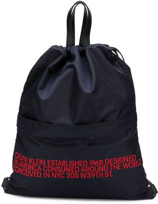 Calvin Klein embroidered text backpack