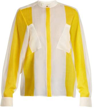 Maison Rabih Kayrouz Etamine Striped Wool Shirt - Womens - Yellow Stripe