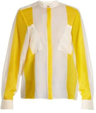 Maison Rabih Kayrouz Etamine Striped Wool Shirt - Womens - Yellow Stripe