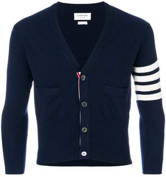 Thom Browne Short V-Neck Cardigan With 4-Bar Stripe In Navy Blue Cashmere