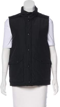 Theory Leather-Accented Mock Neck Vest