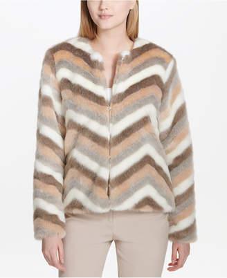 Calvin Klein Striped Faux-Fur Jacket