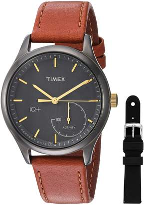 Timex Women's TWG013800 IQ+ Move Activity Tracker Brown Leather Strap Smart Watch Set With Extra Black Silicone Strap