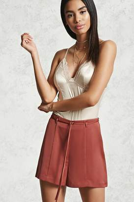Forever 21 High Waist Belted Satin Shorts
