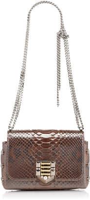 Jimmy Choo LOCKETT PETITE Burgundy Glazed Python Shoulder Bag with Pave Crystal Lock