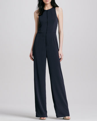 Theory Lindla Sleeveless Wide-Leg Jumpsuit