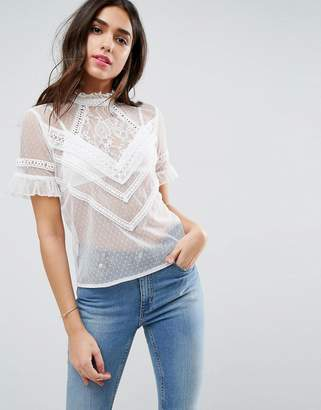 Asos High Neck Top In Dobby Mesh With Lace Trim
