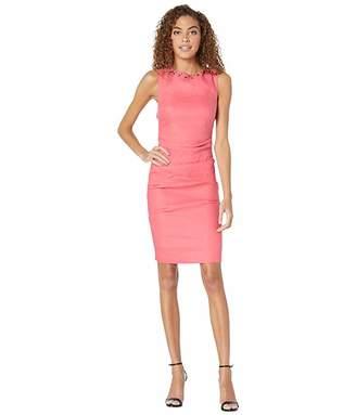 Nicole Miller Solid Stretch Linen Lauren Tuck Dress