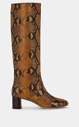 Loeffler Randall Women's Gia Snakeskin-Stamped Leather Knee Boots - Amber