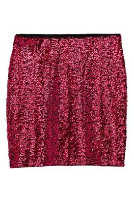 H&M Glittery Skirt - Dark pink/sequins - Women