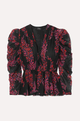 Giambattista Valli Printed Silk-georgette Peplum Blouse - Black