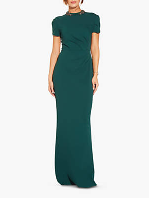 Adrianna Papell Tulip Sleeve Crepe Dress, Dusty Emerald