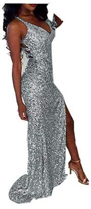 Uryouthstyle Sequins V-neck Prom Dresses Sparkly Split Bridesmaid Gowns US18w