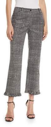 Michael Kors Painterly Gingham-Check Ruffle-Trim Trousers