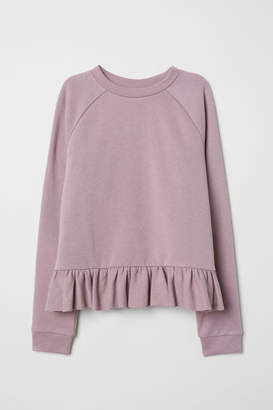 H&M Flounced Sweatshirt - Purple