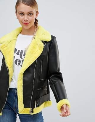 Bershka Faux Fur Contrast Biker Jacket