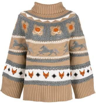 Alberta Ferretti high neck knit sweater