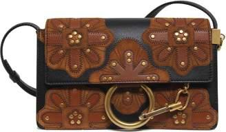 Chloé Faye Shoulder Bag Flower Small Black/Brown