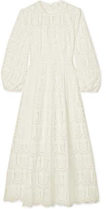 Zimmermann Wayfarer Broderie Anglaise Cotton Midi Dress - White