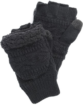 Muk Luks Men's Faux-Fur Fingerless Flip Mittens