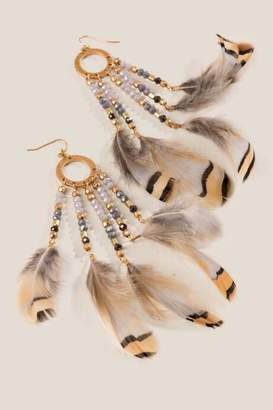 francesca's Rain Tassel Feather Earrings - Gray