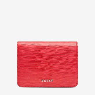 Bally Lettes Red, Women's embossed calf leather card holder in corvette