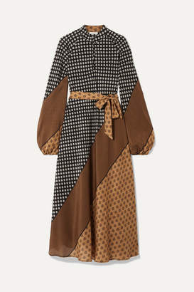 Mes Demoiselles Brange Belted Printed Silk Crepe De Chine Midi Dress - Brown