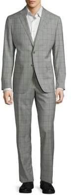 Black & Brown Black Brown Two-Piece Windowpane Wool Suit