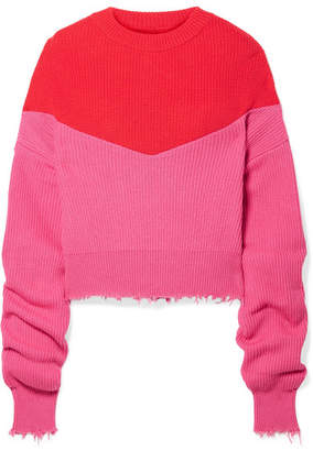 Unravel Project Distressed Ribbed Two-tone Cotton And Cashmere-blend Sweater - Fuchsia