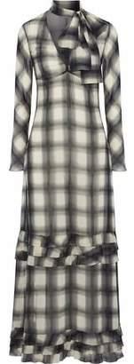 RED Valentino Ruffle-Trimmed Checked Chiffon Maxi Dress