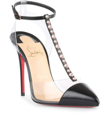 Christian Louboutin Nosy Spikes 100 black leather pumps
