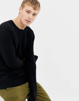 J.Crew Mercantile crew neck pique knit sweater in black