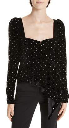 Self-Portrait Asymmetrical Velvet Diamante Top