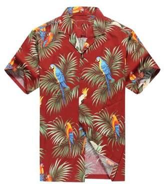 Hawaii Hangover Made in Hawaii Men's Hawaiian Shirt Aloha Shirt Parrots and Leaf in Red