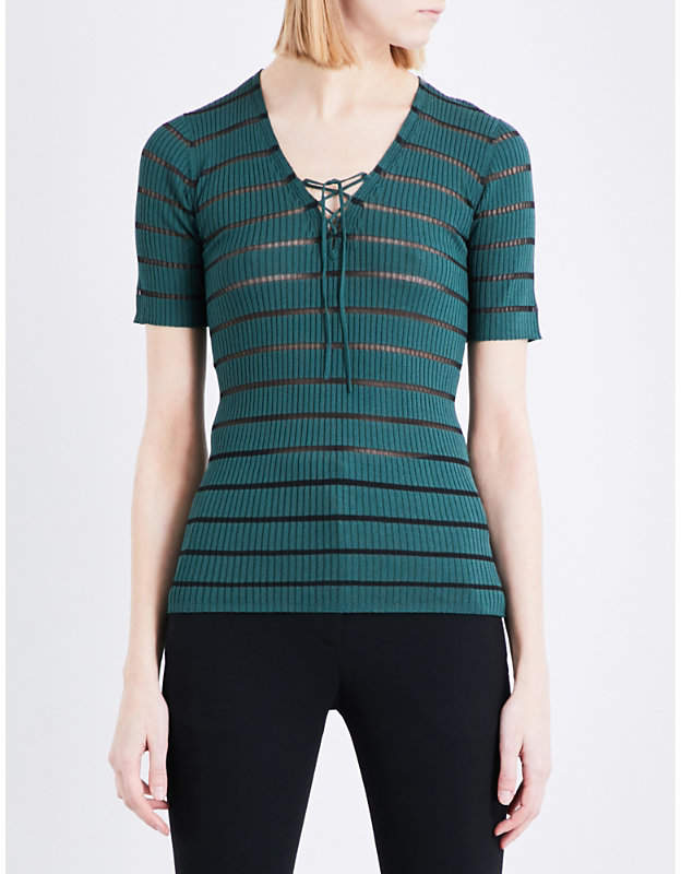 Sandro Striped ribbed-knit jumper