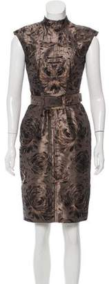 Oscar de la Renta Jacquard Wool & Silk-Blend Dress