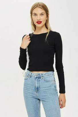 Topshop Tall Long Sleeve Scallop Top