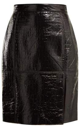MSGM Crocodile Effect Skirt - Womens - Black