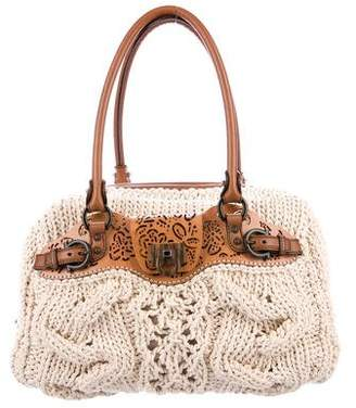 Salvatore Ferragamo Leather-Trimmed Crochet Bag