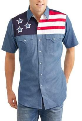 Plains Mens Short Sleeve Patriotic Colorblock