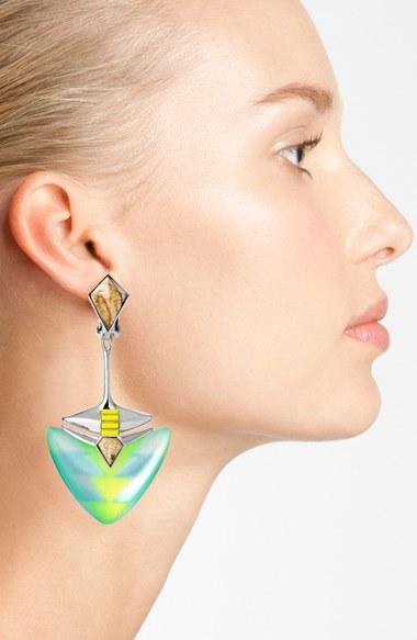 Alexis Bittar 'Lucite® - Neon Deco' Drop Clip Earrings