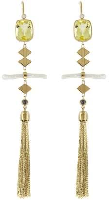 Lito Fine Jewelry Diamonds, Pearl and Lemon Quartz Tassel Drop Earrings - Yellow Gold