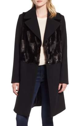 Rachel Roy Faux Fur Panel Wool Blend Coat