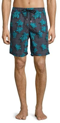 Vilebrequin Okoa Sea Reflection Printed Swim Trunk, Black Pattern $250 thestylecure.com