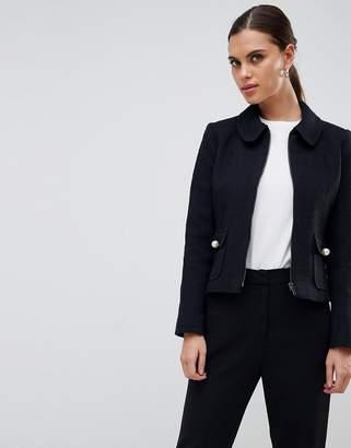 Helene Berman Round Collar Zip Jacket