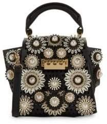 Zac Posen Mini Eartha Faux-Pearl Embellished Leather Top Handle Bag
