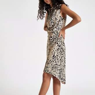 River Island Womens White leopard print wrap shirt dress