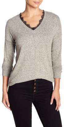 Poof Brushed Lace Trim Sweater