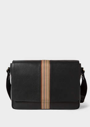 Paul Smith Men's Black Leather Signature Stripe Messenger Bag