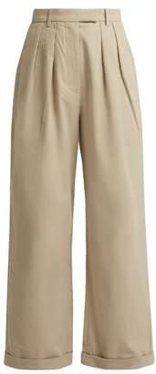 Katharine Hamnett London - Camilla Wide Leg Pleated Cotton Twill Trousers - Womens - Beige